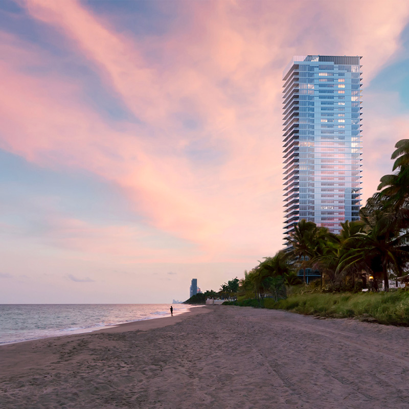 3D rendering sample of the exterior for 2000 Ocean condo at sunset.
