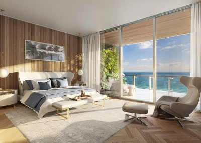 3D rendering sample of a bedroom design at 57 Ocean condo.