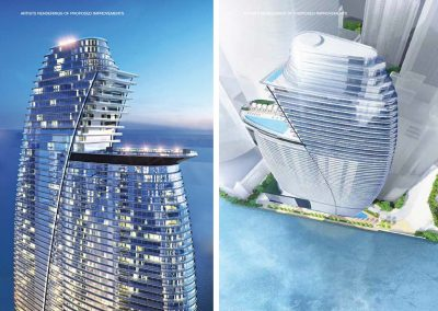 3D rendering sample of the sky pool deck design at Aston Martin Residences.
