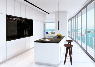 3D rendering sample of a whit modern kitchen design at Aston Martin Residences.
