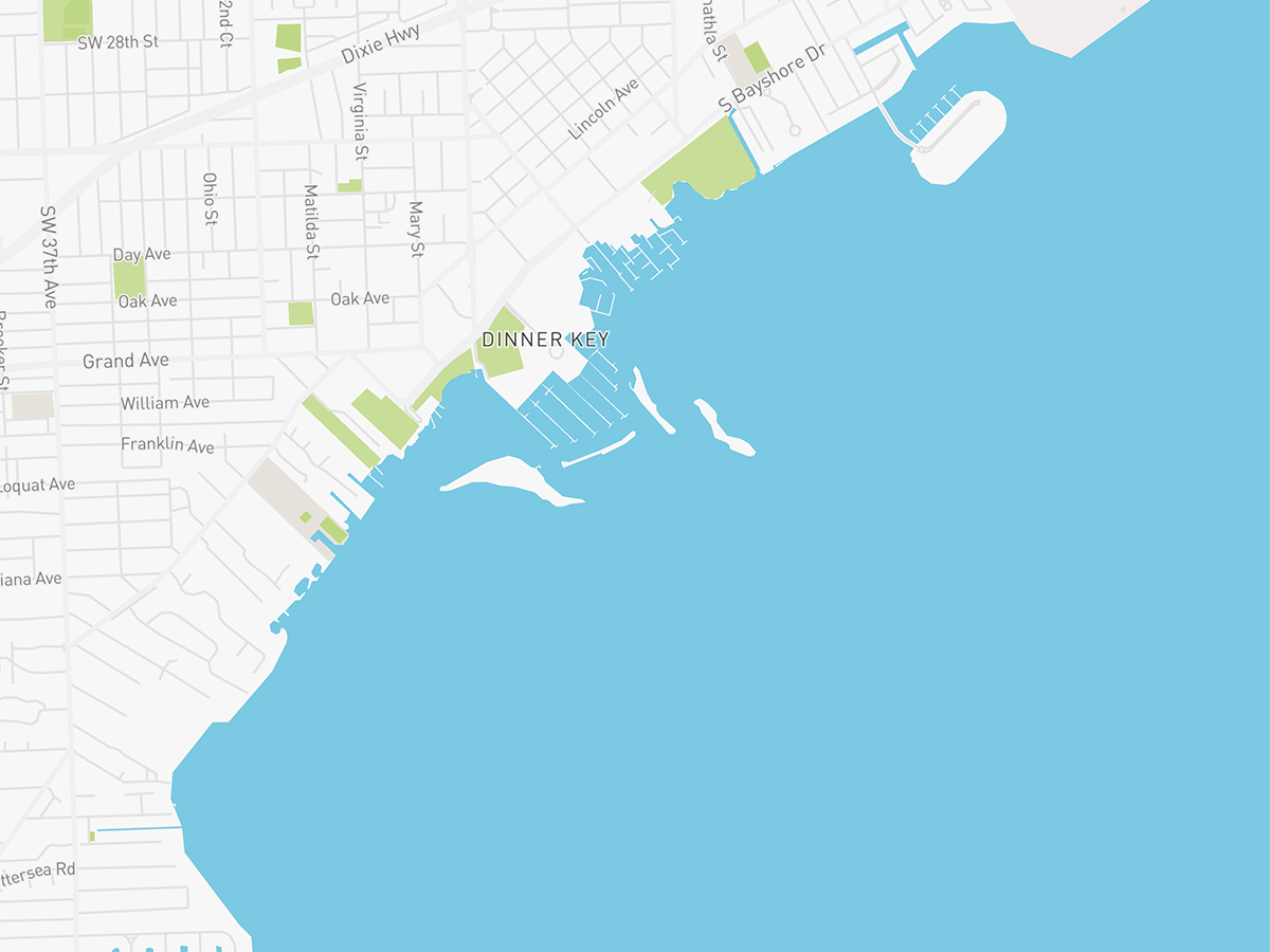Map illustration of Coconut Grove, Florida.