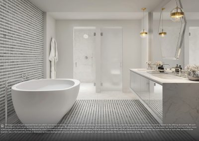 3D rendering sample of a modern bathroom design at Elysee condo.