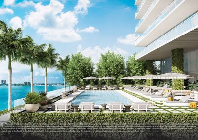 3D rendering sample of the east pool deck design at Elysee condo.