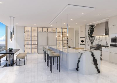 3D rendering sample of a kitchen design at The Estates at Acqualina condo.