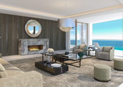 3D rendering sample of a living room design at The Estates at Acqualina condo.