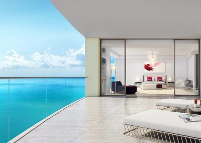 3D rendering sample of a terrace at The Estates at Acqualina condo.