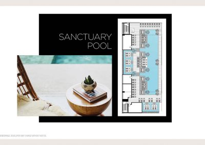 Architectural illustration of Legacy Hotel & Residences' sanctuary pool aquatic experiences.