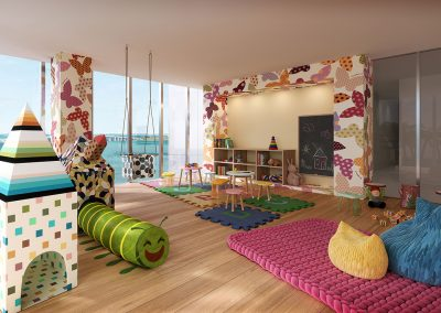 3D rendering sample of children's playroom at Missoni Baia condo.