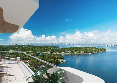 3D rendering sample of a terrace at Monaco Yacht Club & Residences at daytime.