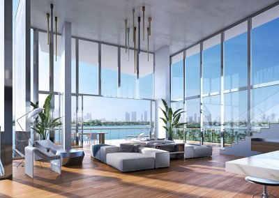 3D rendering sample of a large living room design at Monad Terrace condo.