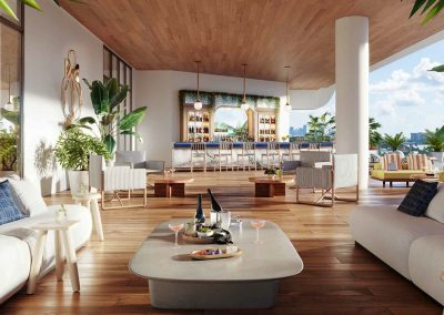 3D rendering sample of the pool bar design at Mr. C Residences condo.