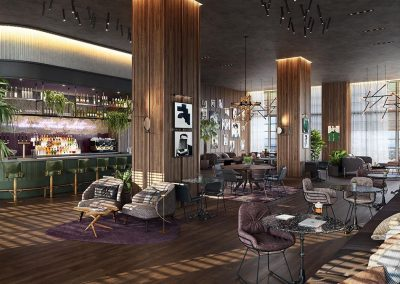 3D rendering sample of the lounge bar design at Natiivo Miami condo.