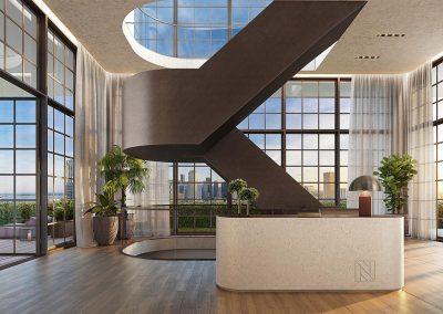 3D rendering sample of the reception design at Natiivo Miami condo.