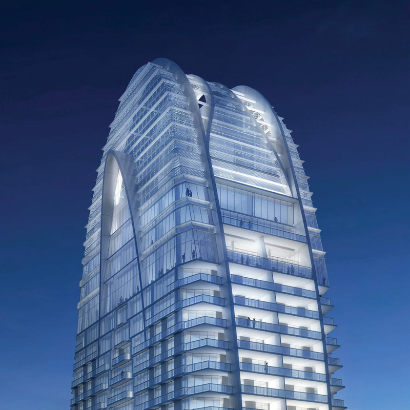 3D rendering sample of the top of Okan Tower condo at night.