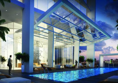 3D rendering sample of the pool deck at Okan Tower condo.
