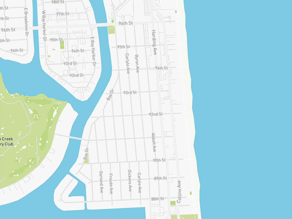 Map illustration of Surfside, Florida.