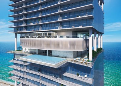 3D rendering sample of the sky deck pool deck at Turnberry Ocean Club condo.