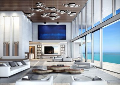 3D rendering sample of a great room design at Turnberry Ocean Club condo.