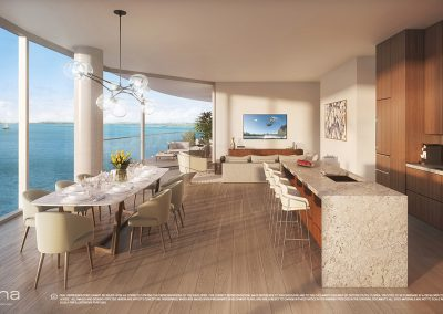 3D rendering sample of a dining room and kitchen design at Una Residences condo.