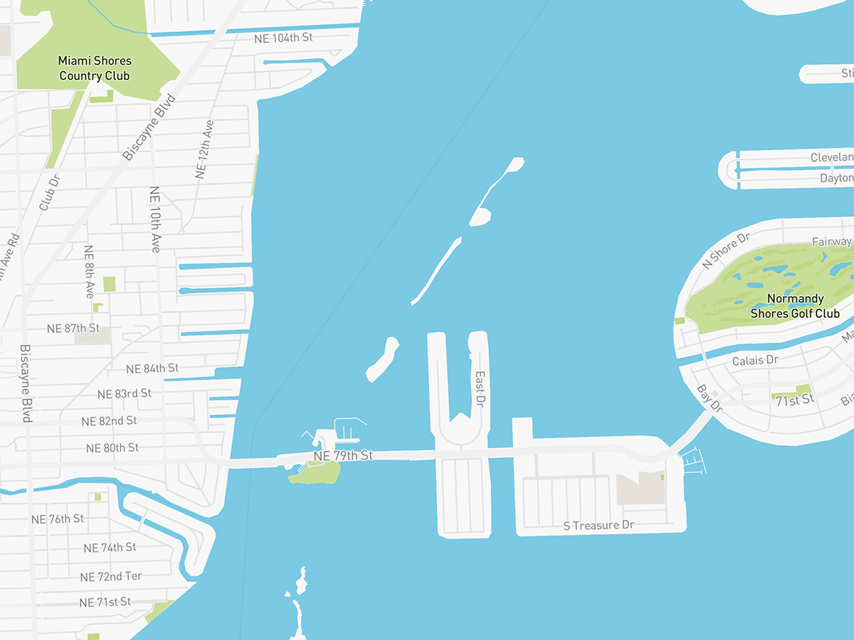 Map illustration of Upper East Side Miami, Florida.